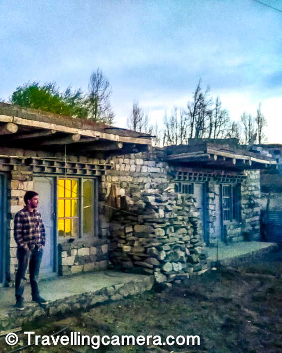 Above photograph shows backyard of our rooms in Amar Home Stay at Nako Village in Spiti Valley. Whole place was built with stones and wood. Sunset from our backyard was beautiful and the surrounding area had agricultural land with peas and potato fields.