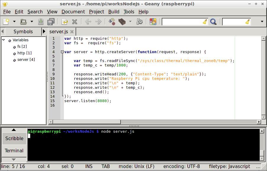 Hello Raspberry Pi: Node js to read Raspberry Pi temperature