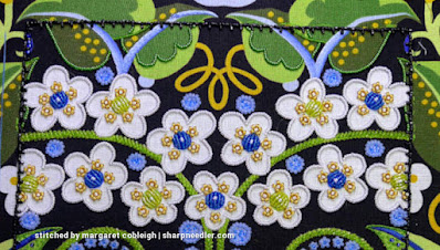 All the leaves at the top showing their completed beaded outlines (except for the ones near the curled element in the middle). (Wild Child Japanese Bead Embroidery by Mary Alice Sinton)
