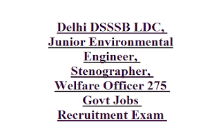 Delhi DSSSB LDC, Junior Environmental Engineer, Stenographer, Welfare Officer 275 Govt Jobs Recruitment Exam 2019
