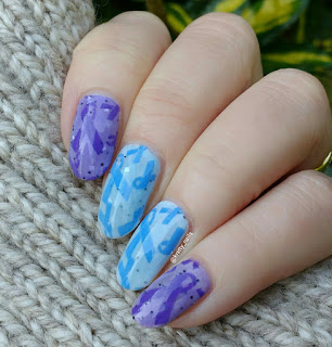 Esmaltes da Kelly Wendy and Tuco  with Born Pretty BP-26  over Voilet Rose Polish Aldeburgh Blue and Purple
