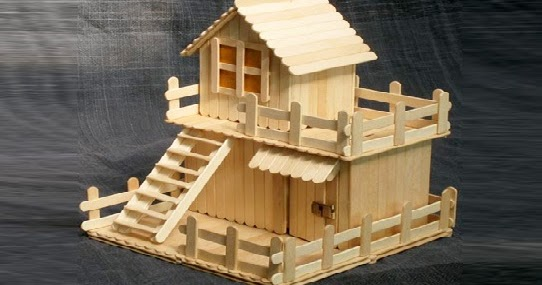 Gambar Desain Miniatur Rumah Dari Stik Es Krim - Sekitar Rumah