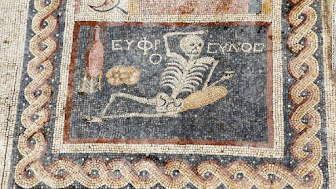 "2,400 Year old Hatay skeleton mosaic ""Be cheerful, enjoy your life"""