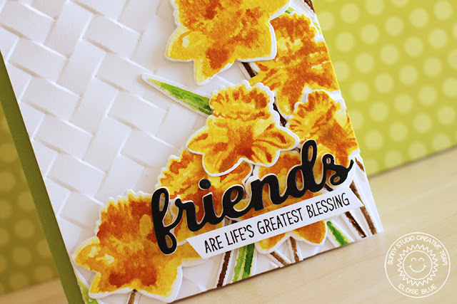 Sunny Studio Stamps: Daffodil Dreams Friends Are Life's Greatest Blessing Card by Eloise Blue.