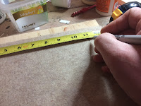 "Marking out a 11""X11"" square on the felt"