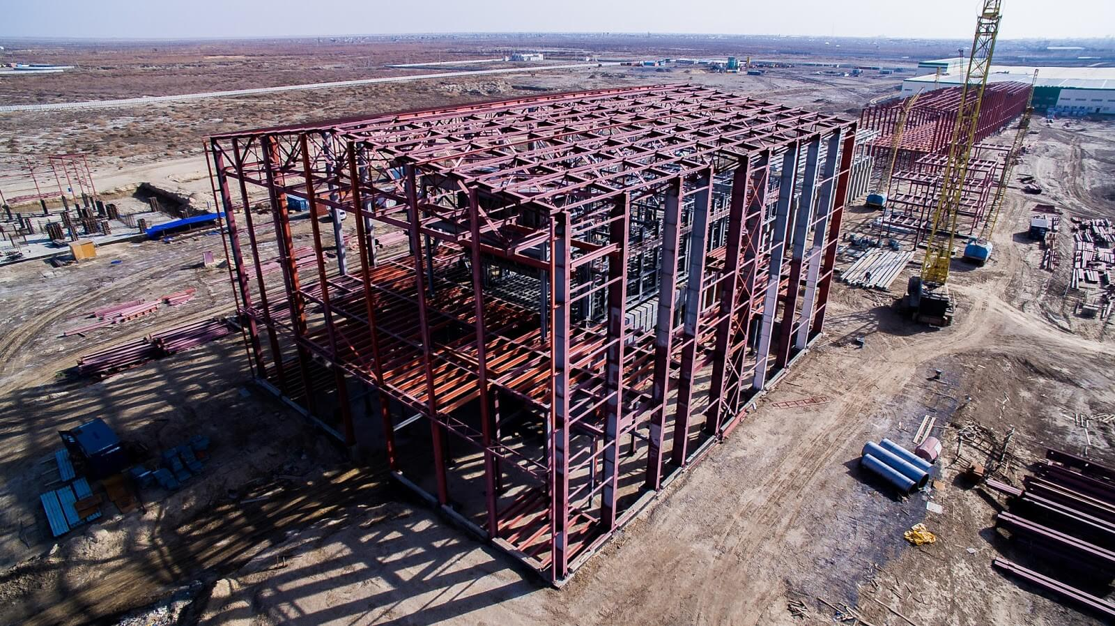 Completed construction of melting furnace support steel in Kyzylorda, KZ, let by Stewart Engineers.