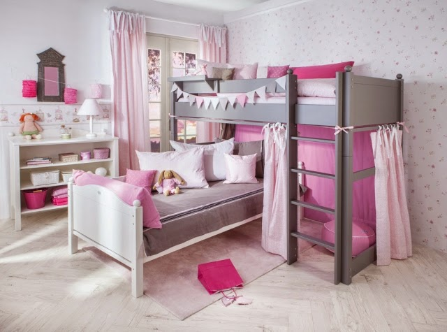 cuarto de ni a en rosa y gris dormitorios colores y estilos. Black Bedroom Furniture Sets. Home Design Ideas