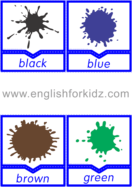 Colors flashcards for ESL students
