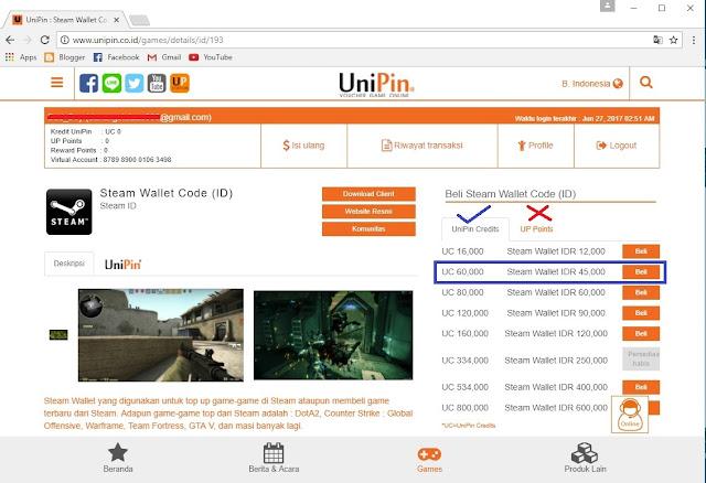 Cara Menukar Unipin ke Steam Wallet