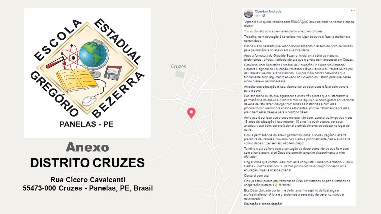 Anexo Escola Gregório Bezerra - Mapa Cruzes - Publicação do diretor Oberdan Andrade no facebook