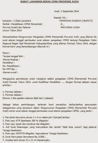Contoh Surat Lamaran Kerja Cpns Provinsi Aceh