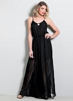 Moda Vestido Longo Quintess Preto com Transparência