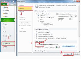 Cara menghilangkan pesan ignore error pada excel