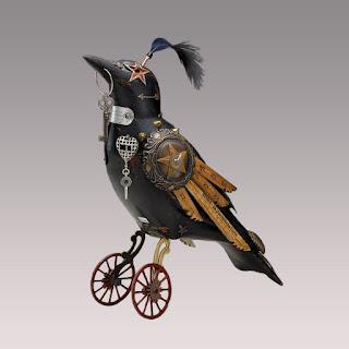 Green Pear Diaries, arte, escultura, steampunk, songbird, Jim y Tori Mullan, Mullanium