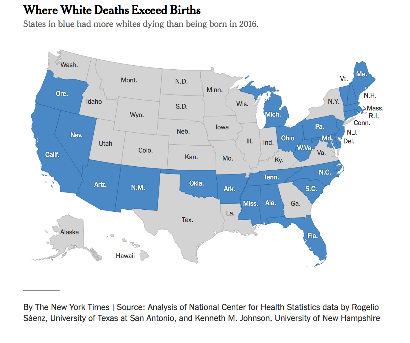that has put demographic change on a faster track the list of states where white deaths outnumber births now includes north carolina and ohio