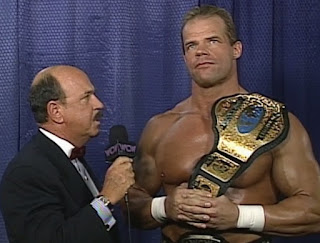 WCW The Great American Bash 1996 - Mean Gene interviewed Lex Luger about his world title match against The Giant