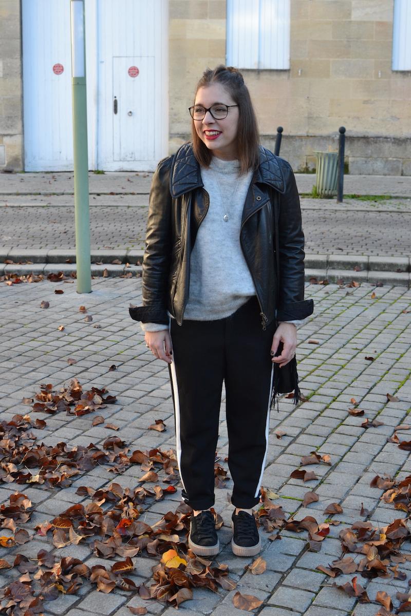 perfecto noir Isabel Marant, pantalon noir à bande blanche Zara, creepers Public Desire, pull gris H&M, sac M de Maje, collier l'atelier d'amaya