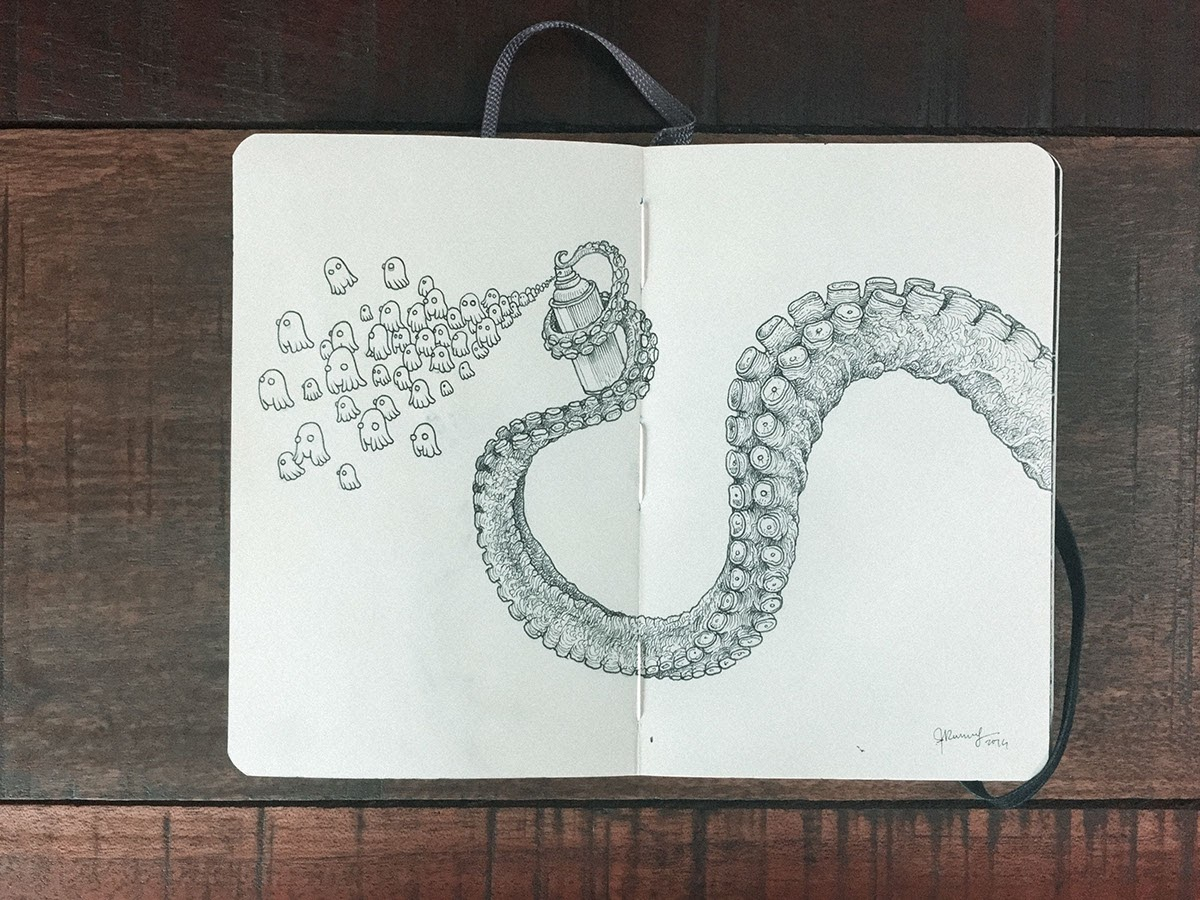 07-Octopus-Graffiti-Kerby-Rosanes-Detailed-Moleskine-Doodles-with-many-Whales-www-designstack-co