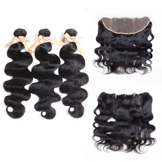 REMY HAIR丨3 BUNDLES BODY WAVE WITH 13X4 LACE FRONTAL丨NATURAL BLACK