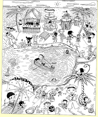 Black and white line art of many cartoon people and animals in a tropical beach scene