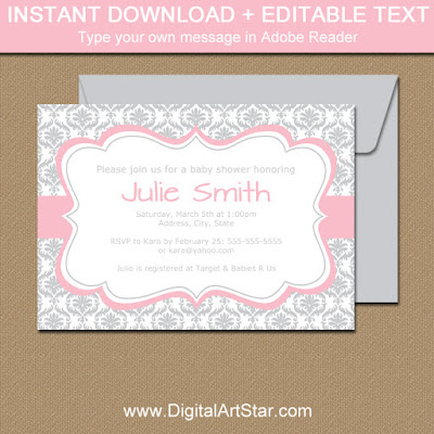 printable silver damask invitation with pink accents for wedding invitation, baby shower invitation, birthday invitation, bridal shower invitation
