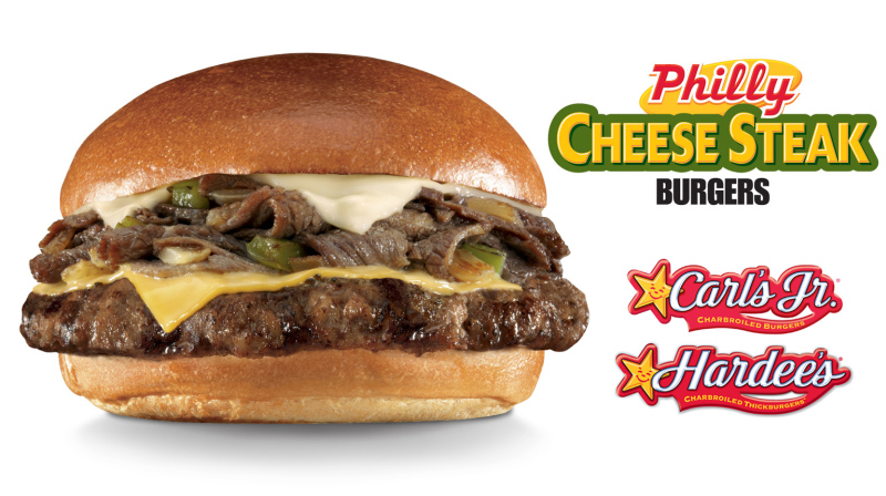 The Philly Cheesesteak Burger Is Back At Carl S Jr And Hardee Restaurants It Comes With Thinly Sliced Steak Grilled Onions Green Peppers