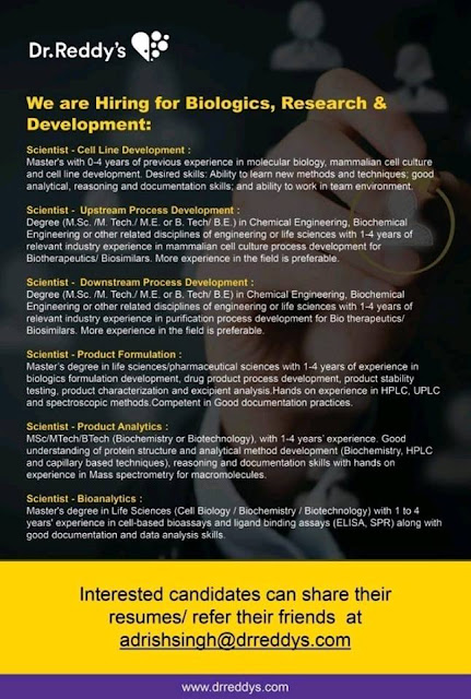 Dr. Reddys We Are Hiring For Biologics, Research & Development