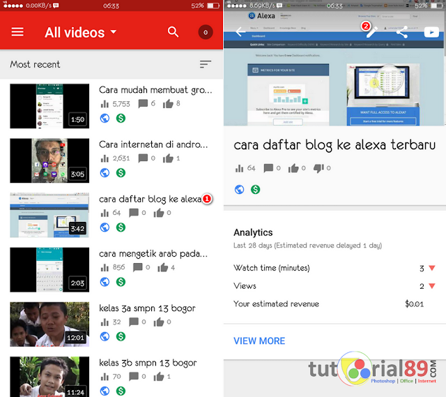 Cara mengaktifkan monetize video youtube di smartphone
