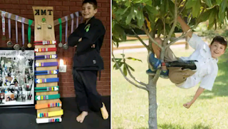 2 photos of a 9-Year-Old Amputee on a tree and standing near his taekwondo award gallery