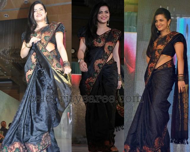 Raj Patola Silk Black Saree Saree Blouse Patterns