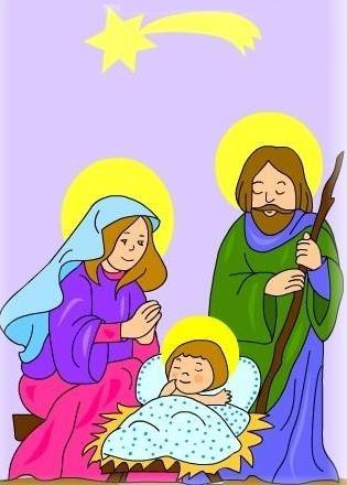 Ilustración del Nacimiento de Jesús a colores