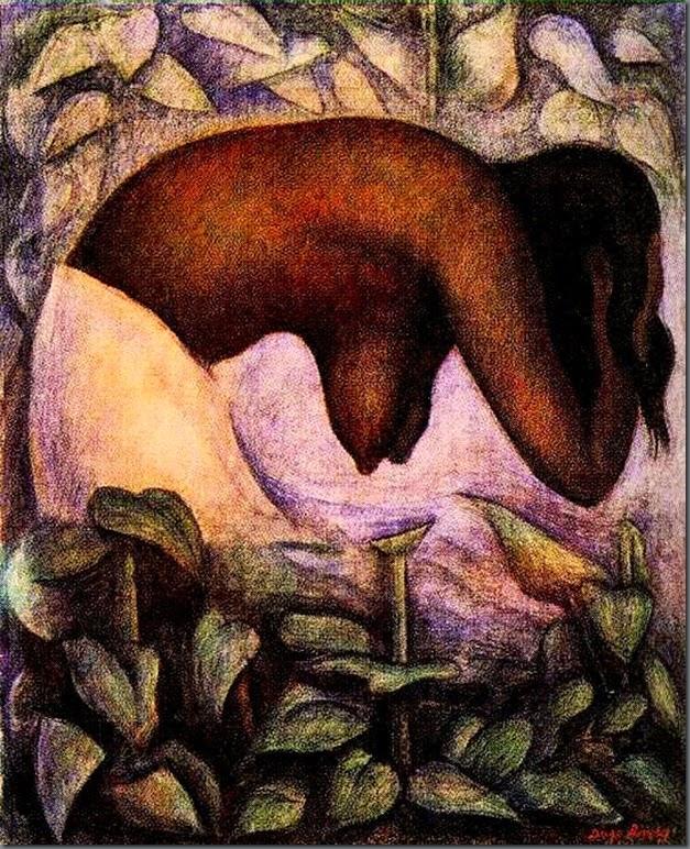 Banhista de Tehuantepec - Diego Rivera e suas principais pinturas ~ Muralismo mexicano