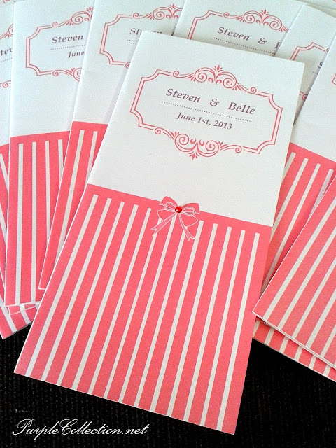 wedding card, stripes, pink stripes, western wedding card, selangor wedding card, royale bintang restaurant, the curve, pink bow
