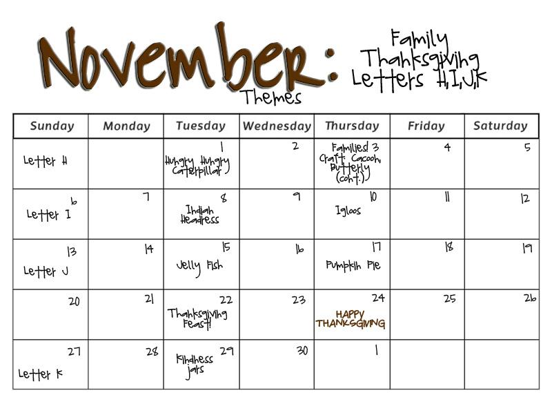 november calendar themes ideas