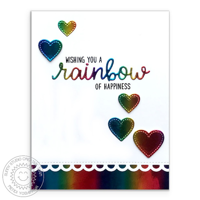 Sunny Studio Stamps: Over The Rainbow Metallic Foil Heart Card by Mendi Yoshikawa (using Window Trio Circle Dies, Frilly Frames Lattice Dies & Fancy Frames Circle Dies)