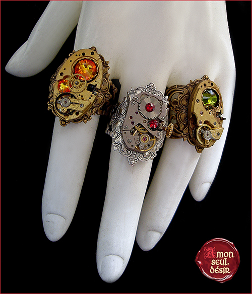 bague steampunk finger ring jewelry clockwork watch movements bronze silver