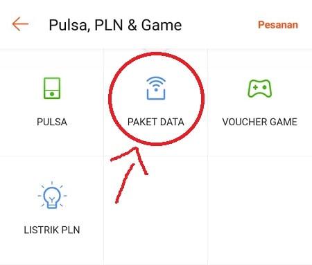 Pilih Menu Paket Data untuk Beli Paket Internet di Shopee