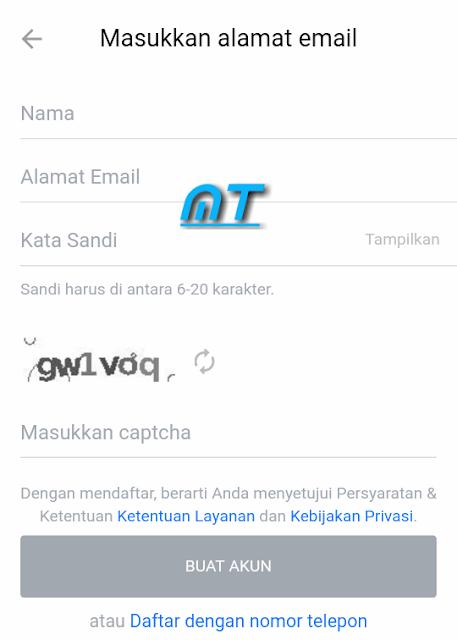 Daftar Menggunakan email.