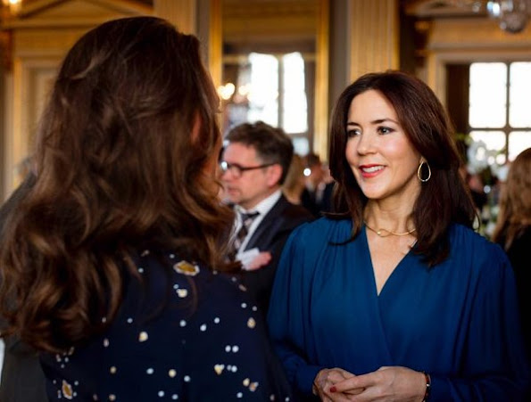 Crown Princess Mary wore Prada blouse, Prada trouser, Dulong Fine Jewelry, Marianne Dulong Aqua earrings
