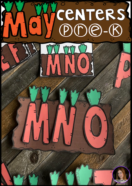 Are you looking for fun hands on centers for your pond, insects and spring themed activities? The Preschool End of the Year Spring Centers for May is sure to keep their interest and will help build important literacy, math and writing (fine-motor) skills. Like this ABC garden activity.