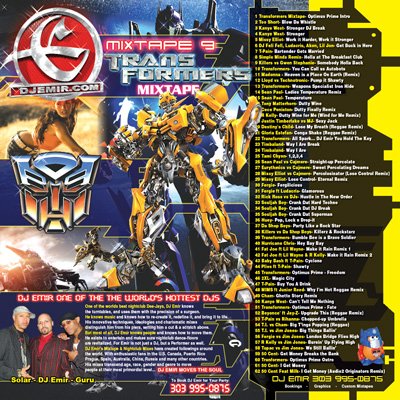 Transformers Mixtape Cover Design Back