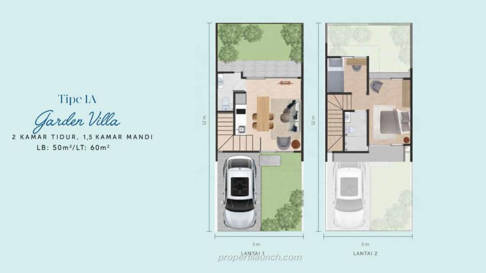 Denah Rumah Waterfront Estate Cikarang Tipe 1A Garden Villa