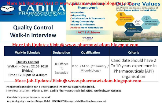 Cadila Pharmaceuticals Ltd - Walk-In Interviews for Quality Control on 22nd June, 2018 @ Ankleshwar