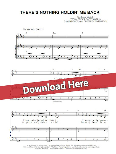shawn mendes, there's nothing holdin' me back, sheet music, piano notes, chords, download, pdf, klavier noten, keyboard, voice, vocals, tutorial, lesson, notation, akkorden