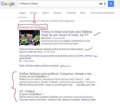 Exemplo de resultado de notícia no Google sobre a política brasileira