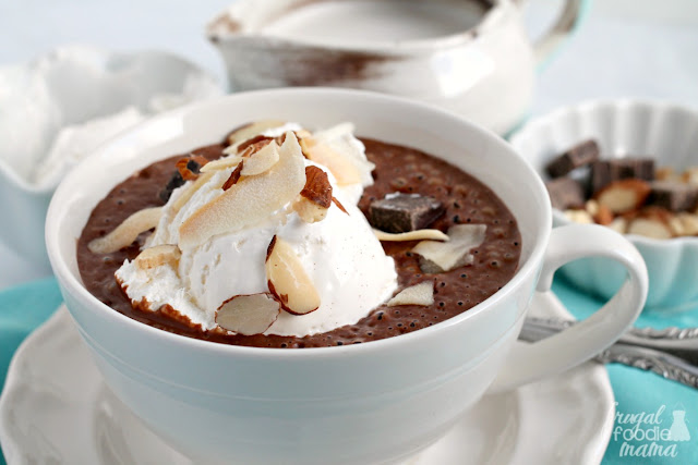 "Inspired by a candy bar favorite, this rich & decadent Frothy ""Almond Joy"" Hot Chocolate is the perfect addition to a cozy weekend brunch."