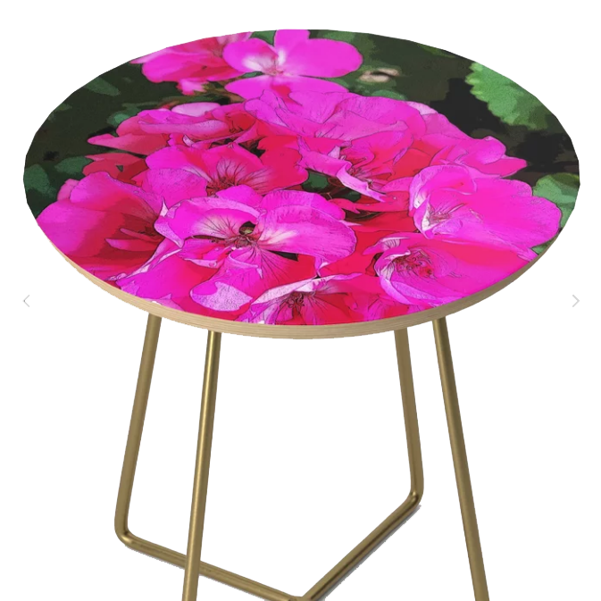 PERFECT TO ADD TO YOUR BALCONY OR PATIO SPACE * Shop my Bright Pink Geranium Side Table on Society6