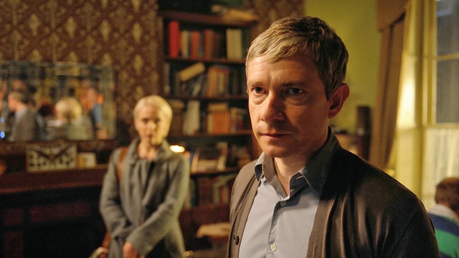 Martin Freeman and Amanda Abbington as John Watson and Mary Morstan in BBC Sherlock Season 3 Episode 3 His Last Vow