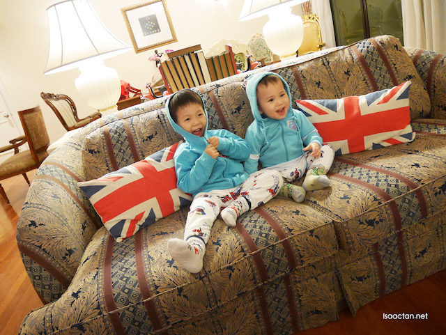 Baby Karlson and Martin loves the huge sofa