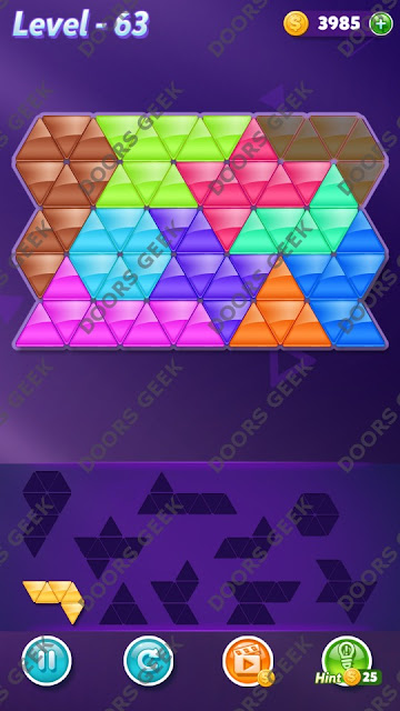 Block! Triangle Puzzle Master Level 63 Solution, Cheats, Walkthrough for Android, iPhone, iPad and iPod